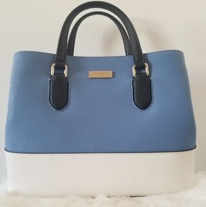 Kate Spade blue and white leather satchel
